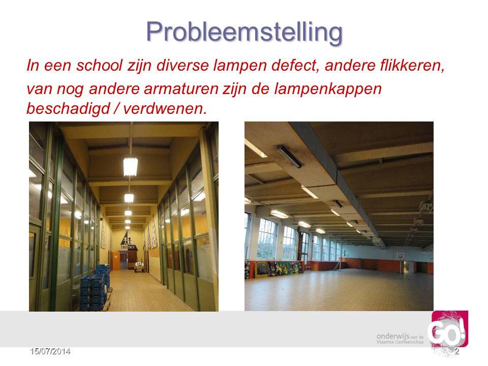 2Probleemstelling In een school zijn diverse lampen defect, andere flikkeren, van nog andere armaturen zijn de lampenkappen beschadigd / verdwenen.