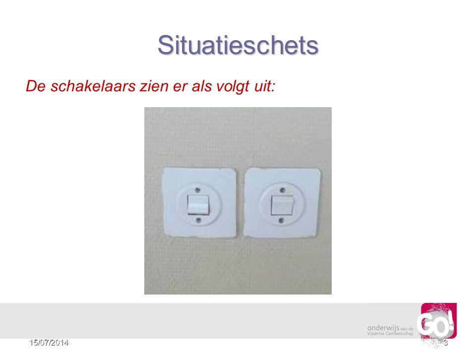 3 De schakelaars zien er als volgt uit: Situatieschets 15/07/2014