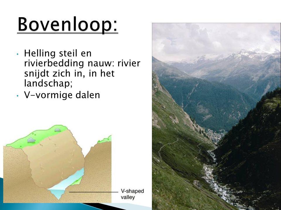 Helling steil en rivierbedding nauw: rivier snijdt zich in, in het landschap; V-vormige dalen