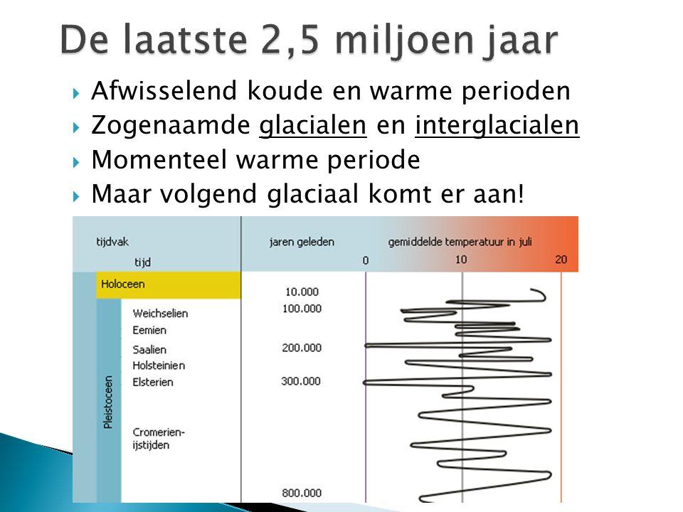  Afwisselend koude en warme perioden  Zogenaamde glacialen en interglacialen  Momenteel warme periode  Maar volgend glaciaal komt er aan!