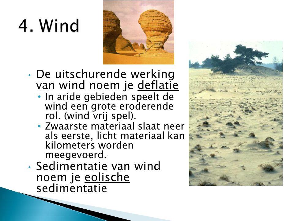 De uitschurende werking van wind noem je deflatie In aride gebieden speelt de wind een grote eroderende rol. (wind vrij spel). Zwaarste materiaal slaa