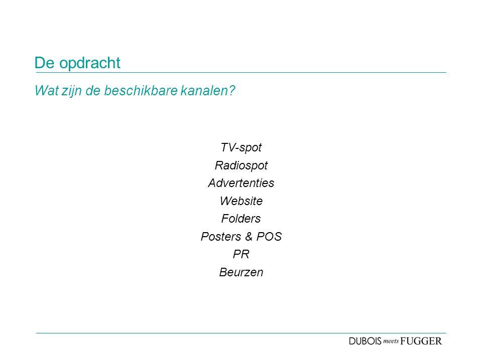 De opdracht TV-spot Radiospot Advertenties Website Folders Posters & POS PR Beurzen Wat zijn de beschikbare kanalen?