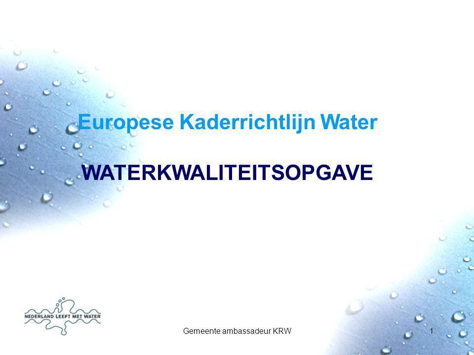 Gemeente ambassadeur KRW1 Europese Kaderrichtlijn Water WATERKWALITEITSOPGAVE