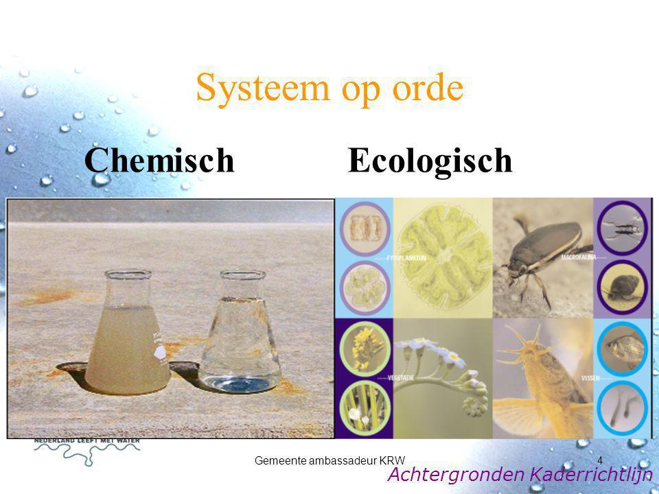 Gemeente ambassadeur KRW5 De KRW in het kort Doel: De kwaliteit van de Europese wateren in een goede toestand te brengen en te houden.
