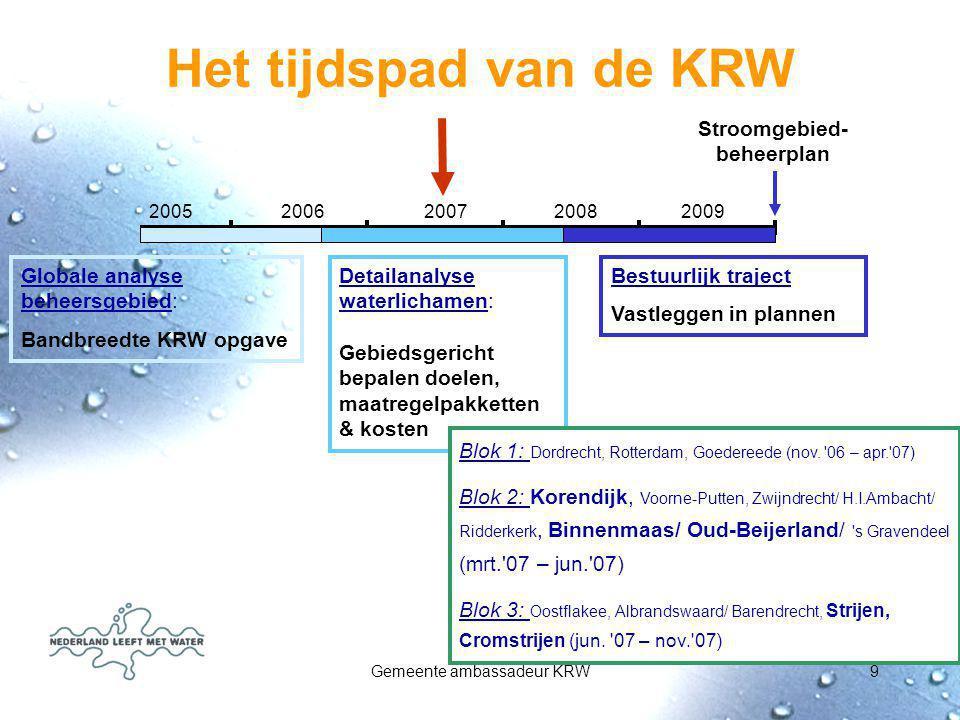 Gemeente ambassadeur KRW9 2005 2006 2007 2008 2009 Globale analyse beheersgebied: Bandbreedte KRW opgave Detailanalyse waterlichamen: Gebiedsgericht b