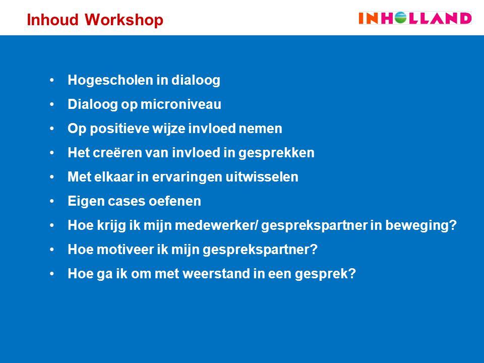 Inhoud Workshop Hogescholen in dialoog Dialoog op microniveau Op positieve wijze invloed nemen Het creëren van invloed in gesprekken Met elkaar in erv