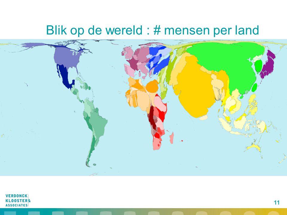11 Blik op de wereld : # mensen per land