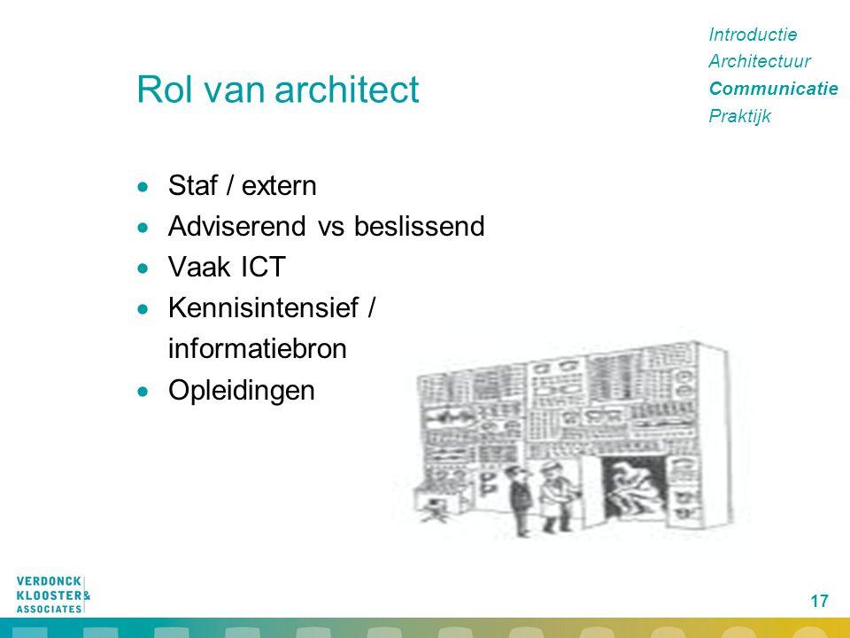 17 Rol van architect  Staf / extern  Adviserend vs beslissend  Vaak ICT  Kennisintensief / informatiebron  Opleidingen Introductie Architectuur C