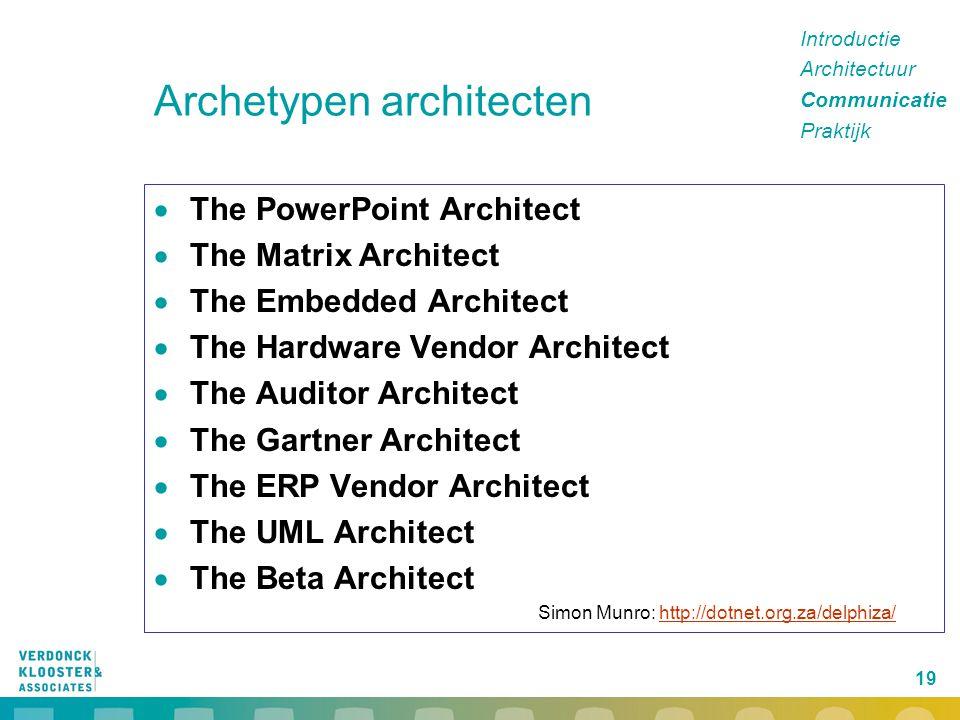 19 Archetypen architecten  The PowerPoint Architect  The Matrix Architect  The Embedded Architect  The Hardware Vendor Architect  The Auditor Arc