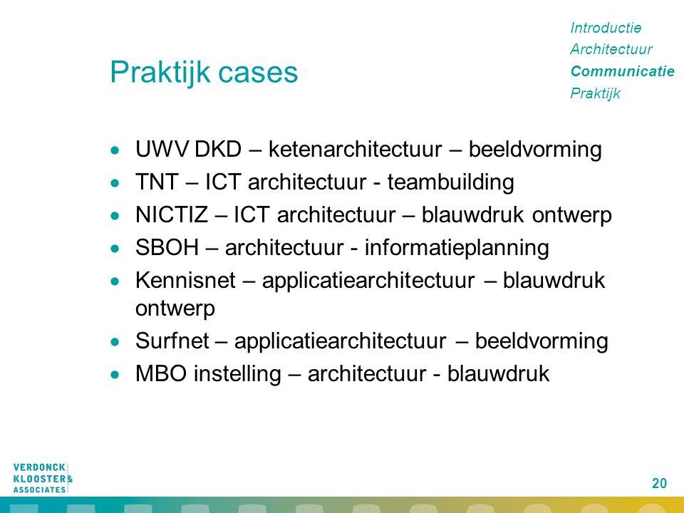 20 Praktijk cases  UWV DKD – ketenarchitectuur – beeldvorming  TNT – ICT architectuur - teambuilding  NICTIZ – ICT architectuur – blauwdruk ontwerp