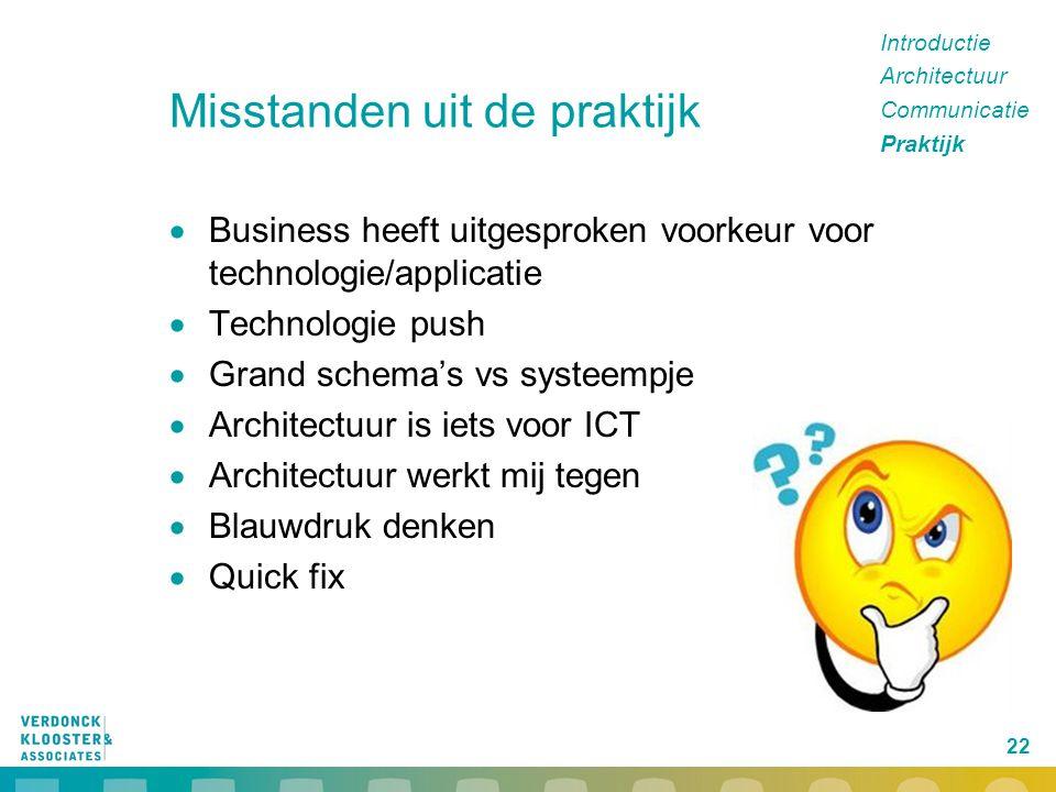 22 Misstanden uit de praktijk  Business heeft uitgesproken voorkeur voor technologie/applicatie  Technologie push  Grand schema's vs systeempje  A