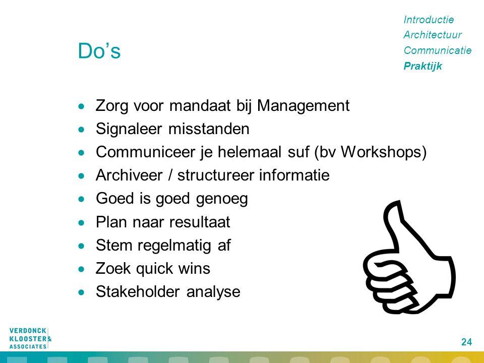 24 Do's  Zorg voor mandaat bij Management  Signaleer misstanden  Communiceer je helemaal suf (bv Workshops)  Archiveer / structureer informatie 