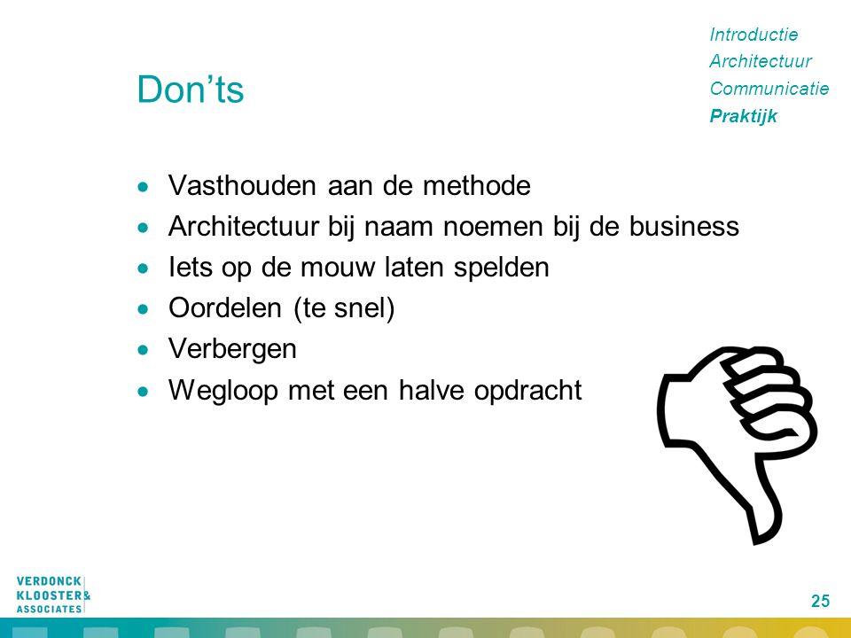 25 Don'ts  Vasthouden aan de methode  Architectuur bij naam noemen bij de business  Iets op de mouw laten spelden  Oordelen (te snel)  Verbergen