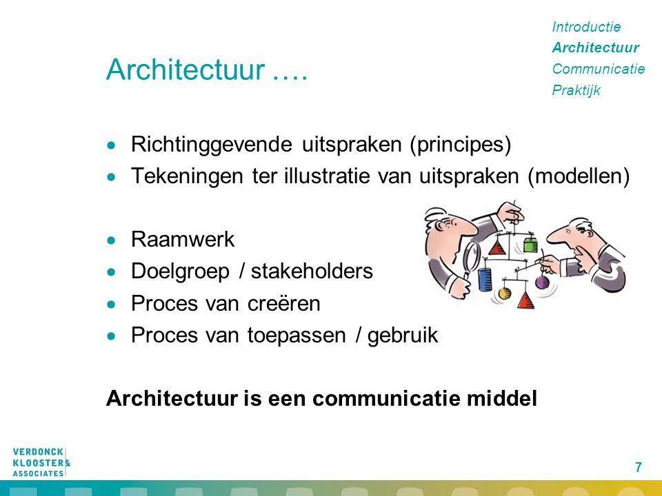 7 Architectuur ….  Richtinggevende uitspraken (principes)  Tekeningen ter illustratie van uitspraken (modellen)  Raamwerk  Doelgroep / stakeholder