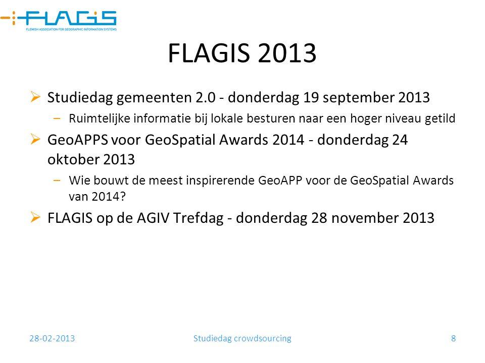 28-02-2013Studiedag crowdsourcing8 FLAGIS 2013  Studiedag gemeenten 2.0 - donderdag 19 september 2013 –Ruimtelijke informatie bij lokale besturen naa