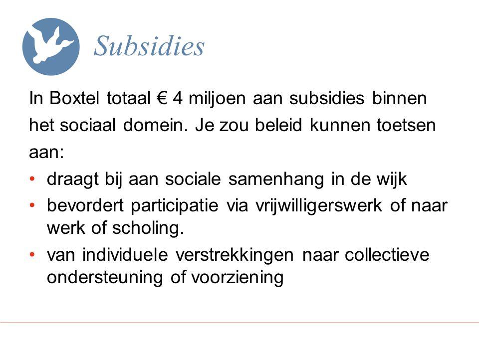 Subsidies In Boxtel totaal € 4 miljoen aan subsidies binnen het sociaal domein.
