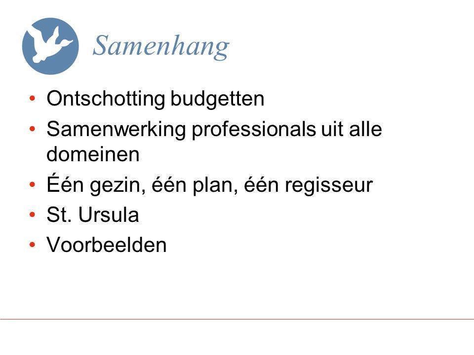 Samenhang Ontschotting budgetten Samenwerking professionals uit alle domeinen Één gezin, één plan, één regisseur St.