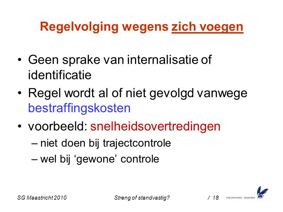 SG Maastricht 2010 Streng of standvastig / 18 Regelvolging wegens zich voegen Geen sprake van internalisatie of identificatie Regel wordt al of niet gevolgd vanwege bestraffingskosten voorbeeld: snelheidsovertredingen –niet doen bij trajectcontrole –wel bij 'gewone' controle