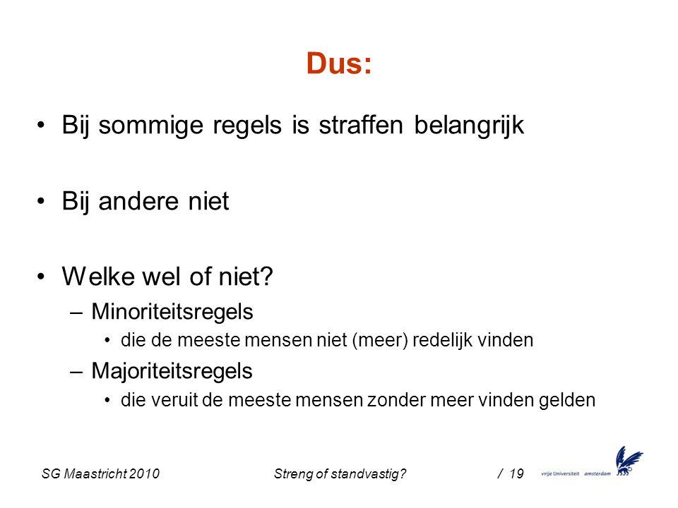SG Maastricht 2010 Streng of standvastig / 19 Dus: Bij sommige regels is straffen belangrijk Bij andere niet Welke wel of niet.