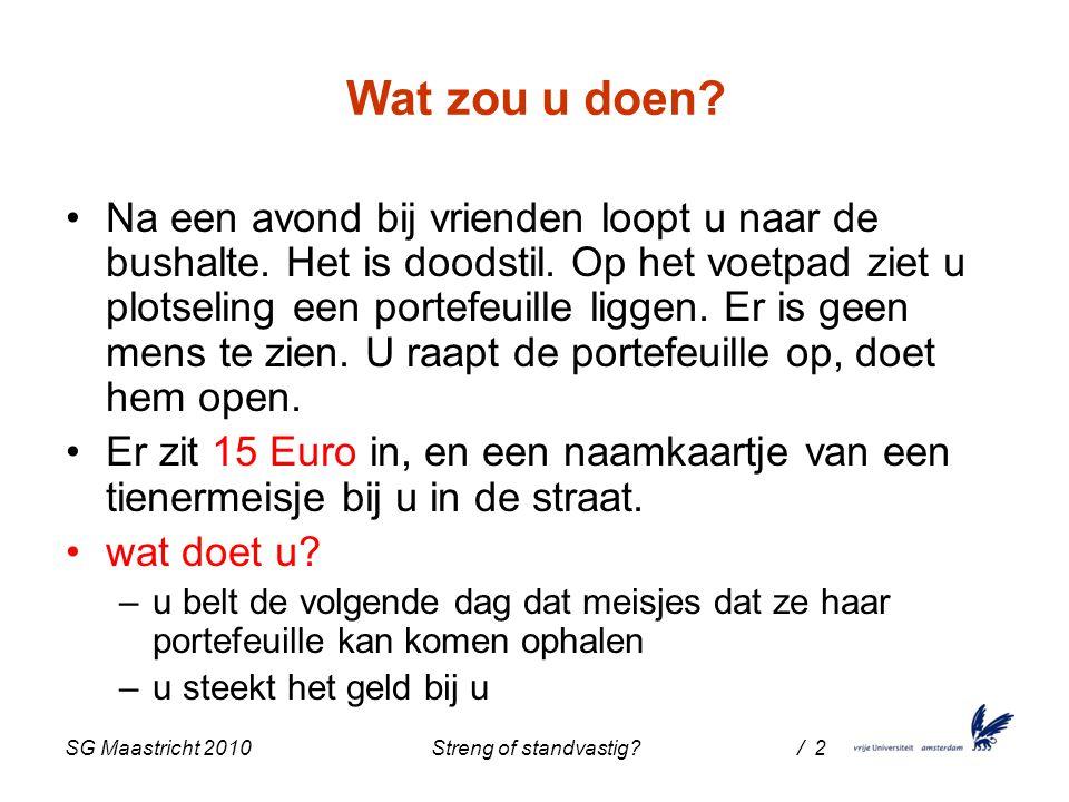 SG Maastricht 2010 Streng of standvastig / 2 Wat zou u doen.