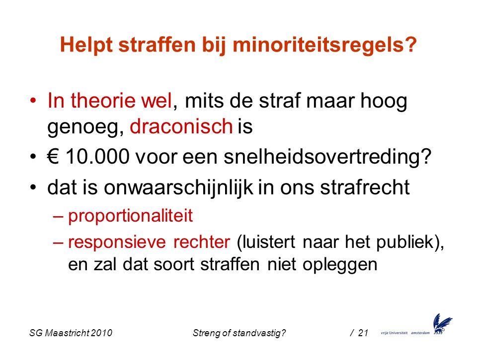 SG Maastricht 2010 Streng of standvastig / 21 Helpt straffen bij minoriteitsregels.