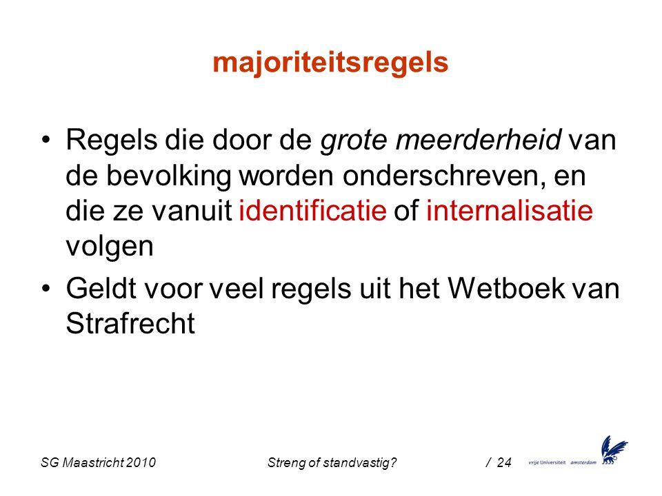 SG Maastricht 2010 Streng of standvastig / 24 majoriteitsregels Regels die door de grote meerderheid van de bevolking worden onderschreven, en die ze vanuit identificatie of internalisatie volgen Geldt voor veel regels uit het Wetboek van Strafrecht