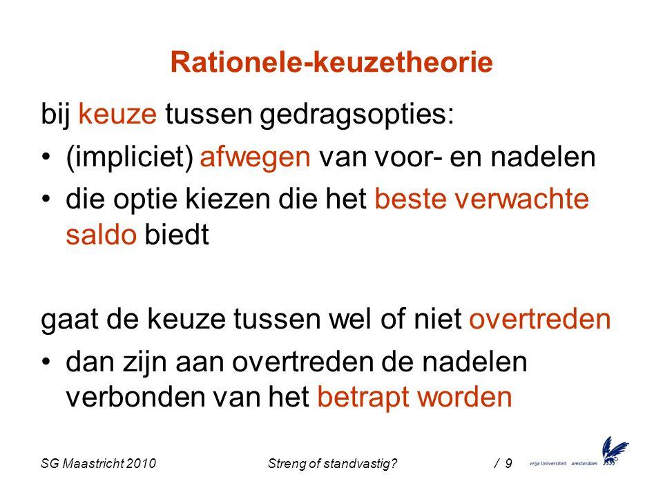 SG Maastricht 2010 Streng of standvastig / 9 Rationele-keuzetheorie bij keuze tussen gedragsopties: (impliciet) afwegen van voor- en nadelen die optie kiezen die het beste verwachte saldo biedt gaat de keuze tussen wel of niet overtreden dan zijn aan overtreden de nadelen verbonden van het betrapt worden