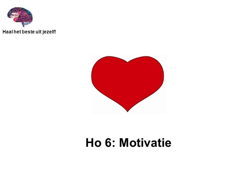 Haal het beste uit jezelf! Ho 6: Motivatie