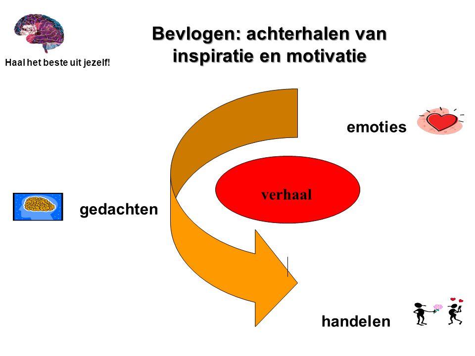 Haal het beste uit jezelf! Bevlogen: achterhalen van inspiratie en motivatie emoties handelen gedachten verhaal