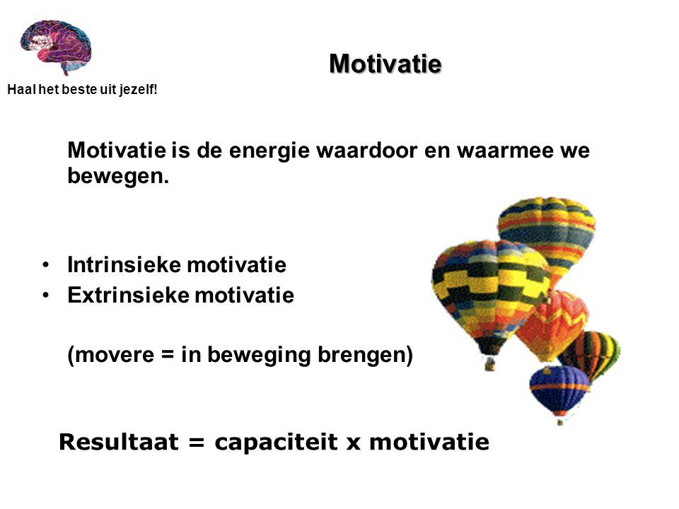 Haal het beste uit jezelf! Motivatie Motivatie is de energie waardoor en waarmee we bewegen. Intrinsieke motivatie Extrinsieke motivatie (movere = in