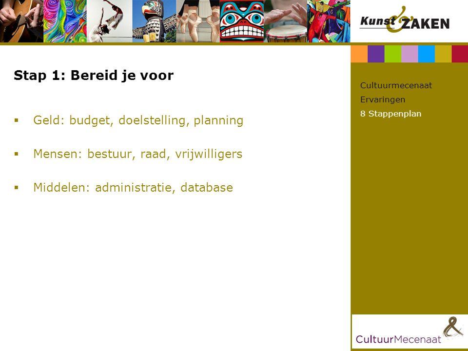 Stap 1: Bereid je voor  Geld: budget, doelstelling, planning  Mensen: bestuur, raad, vrijwilligers  Middelen: administratie, database Cultuurmecena