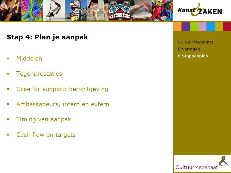 Stap 4: Plan je aanpak  Middelen  Tegenprestaties  Case for support: berichtgeving  Ambassadeurs, intern en extern  Timing van aanpak  Cash flow en targets Cultuurmecenaat Ervaringen 8 Stappenplan