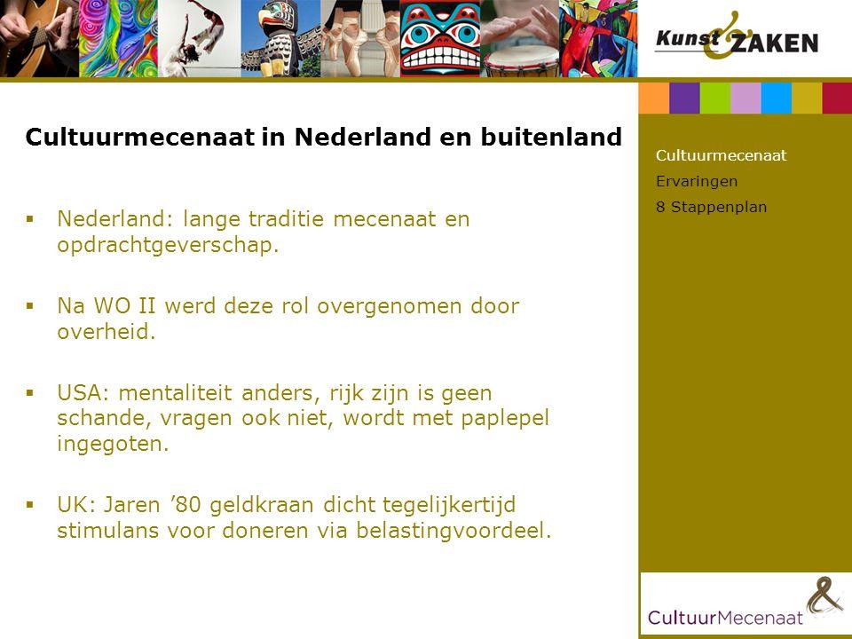 Cultuurmecenaat in Nederland en buitenland  Nederland: lange traditie mecenaat en opdrachtgeverschap.  Na WO II werd deze rol overgenomen door overh