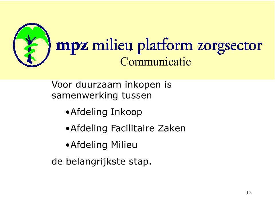 12 Communicatie Voor duurzaam inkopen is samenwerking tussen Afdeling Inkoop Afdeling Facilitaire Zaken Afdeling Milieu de belangrijkste stap.