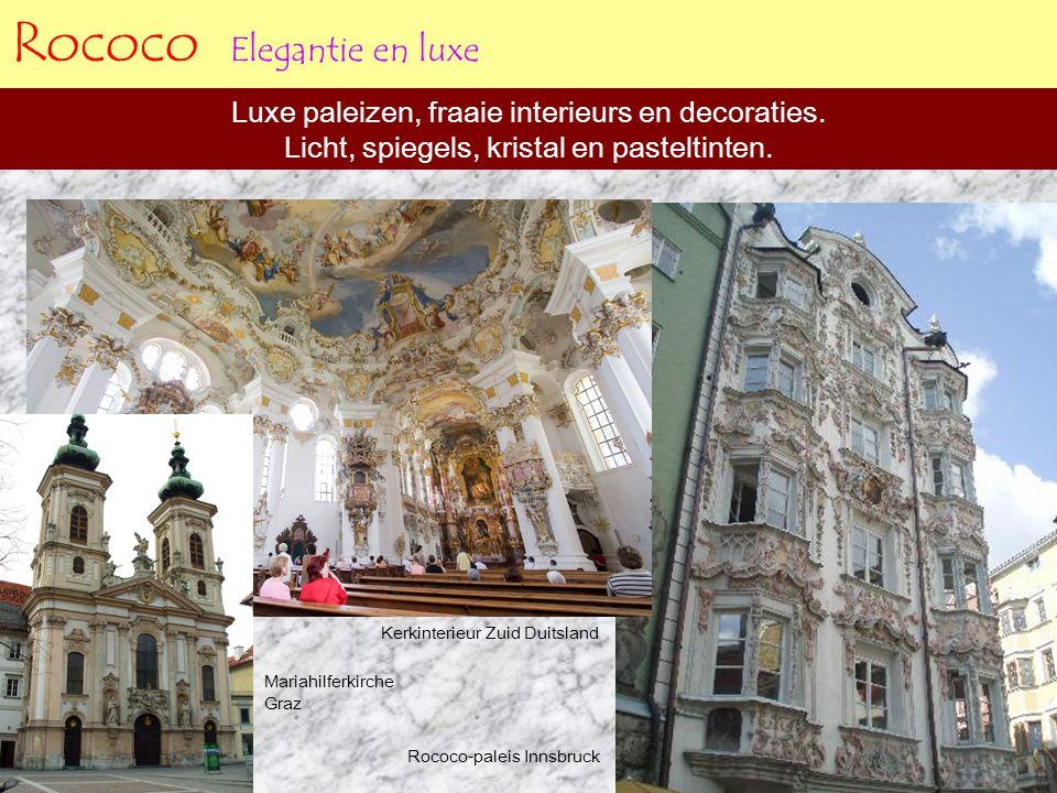 Rococo Elegantie en luxe Luxe paleizen, fraaie interieurs en decoraties. Licht, spiegels, kristal en pasteltinten. Rococo-paleis Innsbruck Kerkinterie