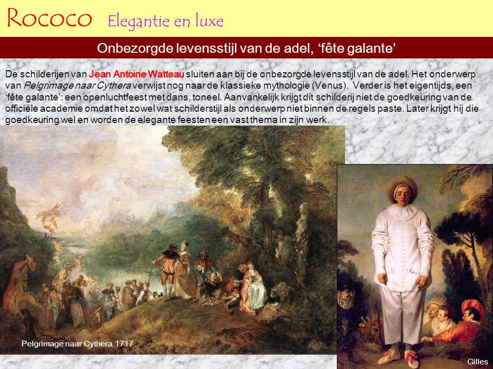 Rococo Elegantie en luxe Onbezorgde levensstijl van de adel, 'fête galante' Pelgrimage naar Cythera 1717 Gilles De schilderijen van Jean Antoine Watte