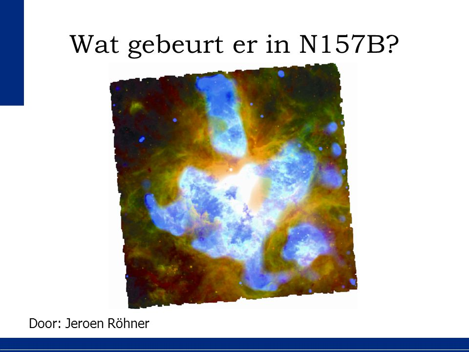 2 20 Overzicht 1.Eigenschappen van N157B 2.Onderzoeksvraag 3.Waarnemingen en resultaten 4.Conclusie