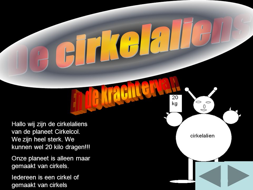 Hallo wij zijn de cirkelaliens van de planeet Cirkelcol.
