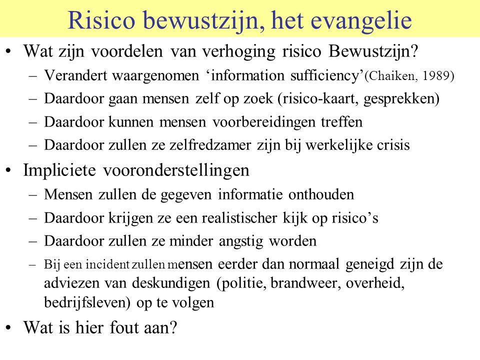 Risico bewustzijn, het evangelie Wat zijn voordelen van verhoging risico Bewustzijn? –Verandert waargenomen 'information sufficiency' (Chaiken, 1989)