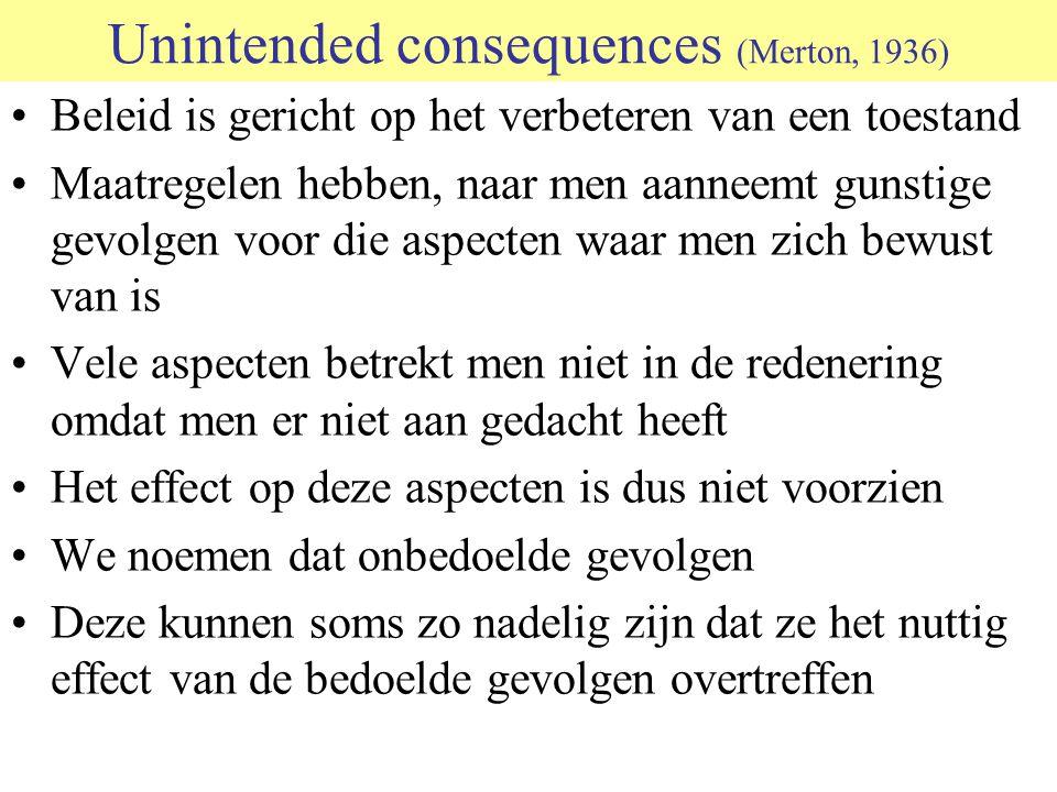 Unintended consequences (Merton, 1936) Beleid is gericht op het verbeteren van een toestand Maatregelen hebben, naar men aanneemt gunstige gevolgen vo