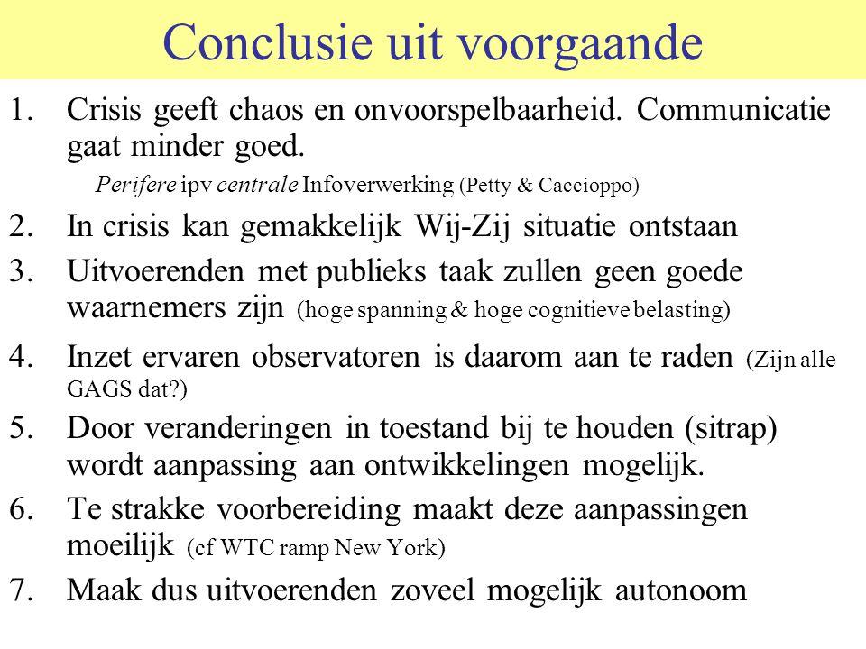 Conclusie uit voorgaande 1.Crisis geeft chaos en onvoorspelbaarheid. Communicatie gaat minder goed. Perifere ipv centrale Infoverwerking (Petty & Cacc