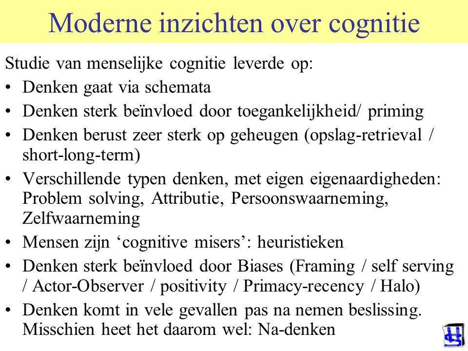 Moderne inzichten over cognitie Studie van menselijke cognitie leverde op: Denken gaat via schemata Denken sterk beïnvloed door toegankelijkheid/ prim