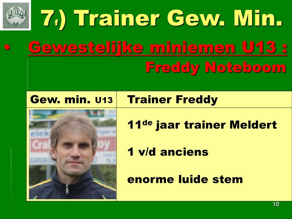 Gewestelijke miniemen U13 : Gewestelijke miniemen U13 : Freddy Noteboom Freddy Noteboom 10 7 f ) Trainer Gew.