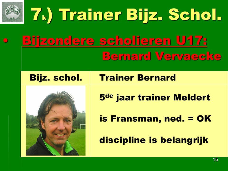 Bijzondere scholieren U17: Bijzondere scholieren U17: Bernard Vervaecke Bernard Vervaecke 15 7 k ) Trainer Bijz.