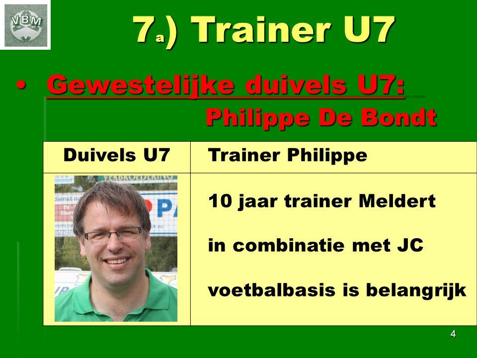 Gewestelijke duivels U7: Philippe De BondtGewestelijke duivels U7: Philippe De Bondt 4 7 a ) Trainer U7 Duivels U7 Trainer Philippe 10 jaar trainer Meldert in combinatie met JC voetbalbasis is belangrijk