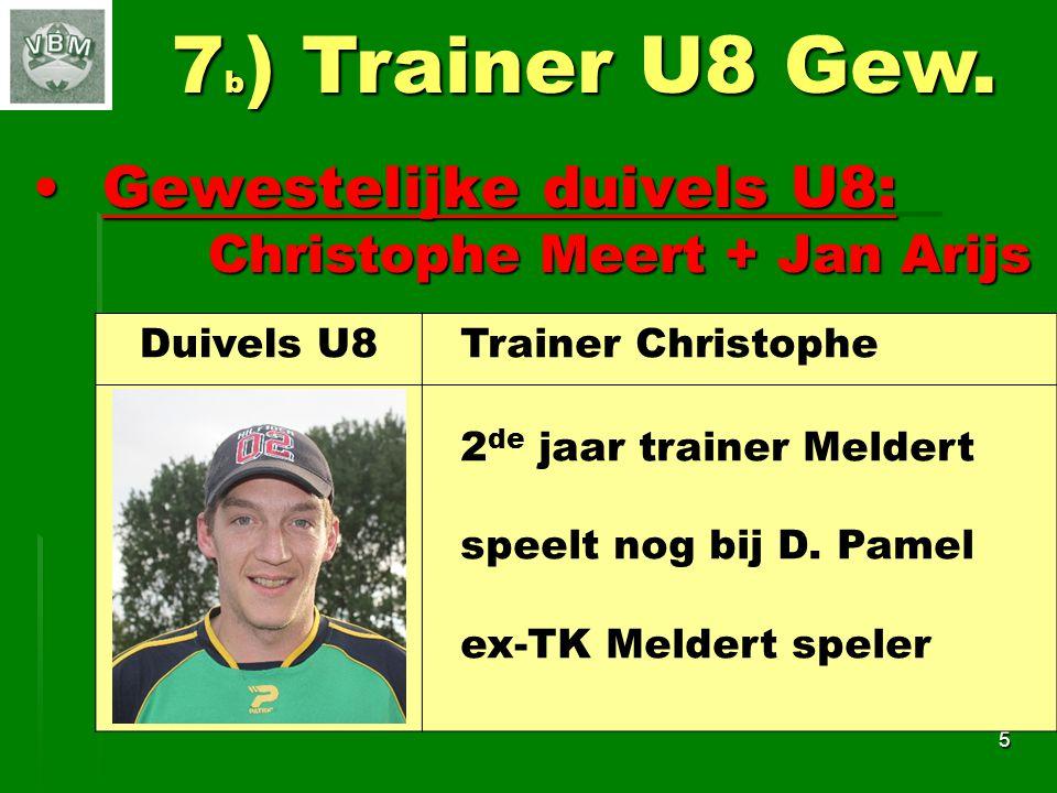 Bijzondere duivels U8:Bijzondere duivels U8: Angelo Van der Poorten 6 7 c ) Trainer U8 Bijz.