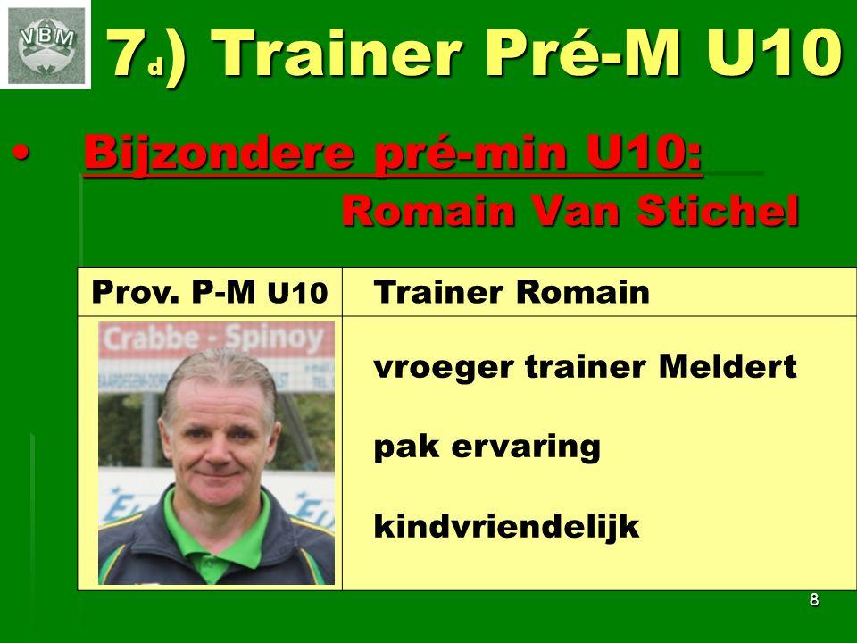 Bijzondere pré-min U10: Bijzondere pré-min U10: Romain Van Stichel Romain Van Stichel 8 7 d ) Trainer Pré-M U10 Prov.