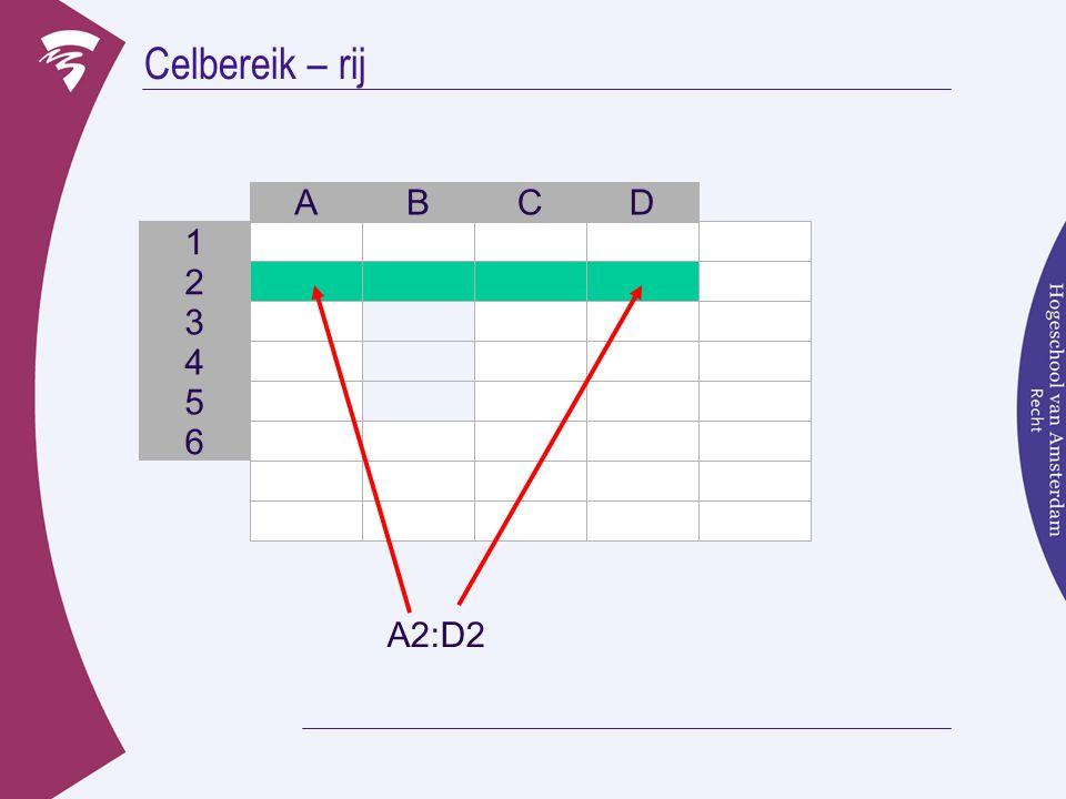 Celbereik – rij 3 B 2 1 ACD 4 5 6 A2:D2