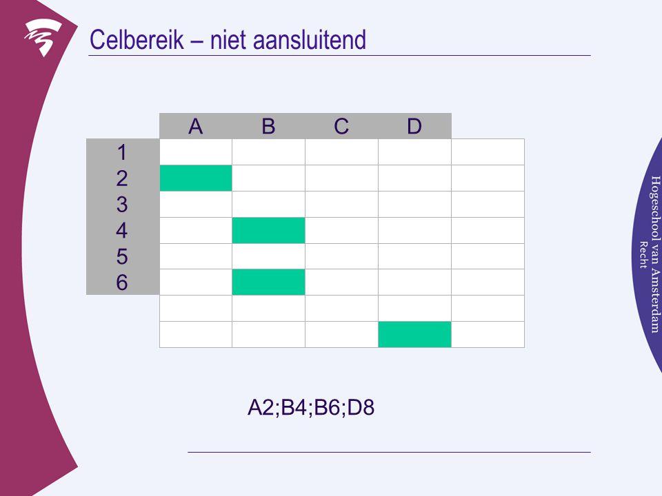 Celbereik – niet aansluitend 3 B 2 1 ACD 4 5 6 A2;B4;B6;D8