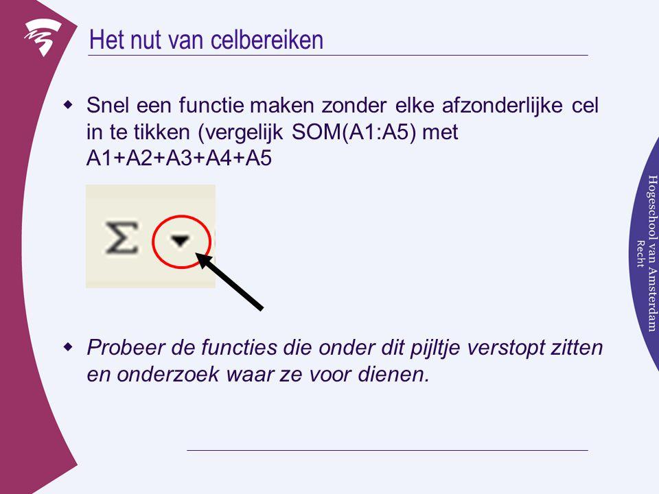 Het nut van celbereiken  Snel een functie maken zonder elke afzonderlijke cel in te tikken (vergelijk SOM(A1:A5) met A1+A2+A3+A4+A5  Probeer de func